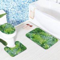 Green Tropical Plants Bathroom Shower Curtain and 3 Piece Rug Set Toilet Cover 180 * 180 (3 Piece Bath Mat Set)