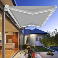 Greenbay Full Cassette Electric Awning Remote Controlled Retractable Garden Patio Sun Shade Shelter With LED Light Kit 4.5x3M - Grey - GREEN BAY