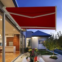 Greenbay Full Cassette Electric Awning Remote Controlled Retractable Garden Patio Sun Shade Shelter With LED Light Kit 4.5x3M - Wine Red - GREEN BAY