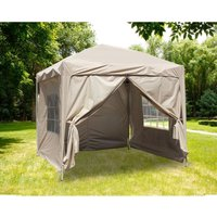 Greenbay Garden Pop Up Gazebo Party Tent Canopy With 4 Sidewalls and Carrying Bag Beige 2.5x2.5M