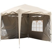 Garden Pop Up Gazebo Party Tent Canopy With 4 Sidewalls and Carrying Bag Beige 2.5x2.5M - Greenbay