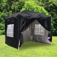 Greenbay Garden Pop Up Gazebo Party Tent Canopy With 4 Sidewalls and Carrying Bag Black 2.5x2.5M - GREEN BAY