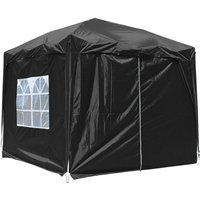 Garden Pop Up Gazebo Party Tent Canopy With 4 Sidewalls and Carrying Bag Black 2.5x2.5M - Greenbay