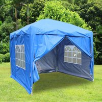 Greenbay Garden Pop Up Gazebo Party Tent Canopy With 4 Sidewalls and Carrying Bag Blue 2.5x2.5M - GREEN BAY