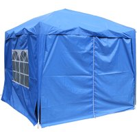 Garden Pop Up Gazebo Party Tent Canopy With 4 Sidewalls and Carrying Bag Blue 2.5x2.5M - Greenbay