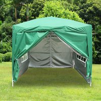 Greenbay Garden Pop Up Gazebo Party Tent Canopy With 4 Sidewalls and Carrying Bag Green 2.5x2.5M