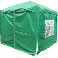 Garden Pop Up Gazebo Party Tent Canopy With 4 Sidewalls and Carrying Bag Green 2.5x2.5M - Greenbay