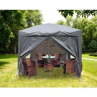 Greenbay Garden Pop Up Gazebo Party Tent Canopy With 4 Sidewalls and Carrying Bag Anthracite 2.5x2.5M - GREEN BAY