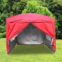Greenbay Garden Pop Up Gazebo Party Tent Canopy With 4 Sidewalls and Carrying Bag Red 2.5x2.5M