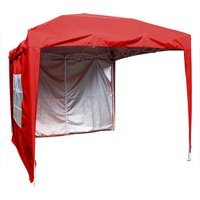 Garden Pop Up Gazebo Party Tent Canopy With 4 Sidewalls and Carrying Bag Red 2.5x2.5M - Greenbay