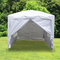 Greenbay Garden Pop Up Gazebo Party Tent Canopy With 4 Sidewalls and Carrying Bag White 2.5x2.5M