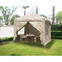 Greenbay Garden Pop Up Gazebo Party Tent Canopy With 4 Sidewalls and Carrying Bag Beige 2x2M - GREEN BAY