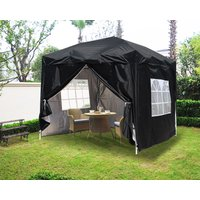 Greenbay Garden Pop Up Gazebo Party Tent Canopy With 4 Sidewalls and Carrying Bag Black 2x2M - GREEN BAY