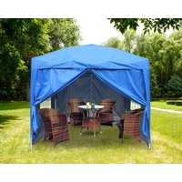 Greenbay Garden Pop Up Gazebo Party Tent Canopy With 4 Sidewalls and Carrying Bag Blue 2x2M - GREEN BAY