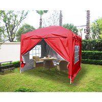 Greenbay Garden Pop Up Gazebo Party Tent Canopy With 4 Sidewalls and Carrying Bag Red 2x2M - GREEN BAY