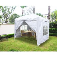 Greenbay Garden Pop Up Gazebo Party Tent Canopy With 4 Sidewalls and Carrying Bag White 2x2M - GREEN BAY