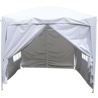 Garden Pop Up Gazebo Party Tent Canopy With 4 Sidewalls and Carrying Bag White 2x2M - Greenbay