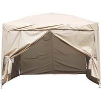 Greenbay Garden Pop Up Gazebo Party Tent Canopy With 4 Sidewalls and Carrying Bag Beige 3x3M
