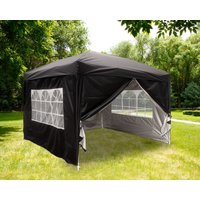 Greenbay Garden Pop Up Gazebo Party Tent Canopy With 4 Sidewalls and Carrying Bag Black 3x3M