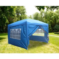 Greenbay Garden Pop Up Gazebo Party Tent Canopy With 4 Sidewalls and Carrying Bag Blue 3x3M