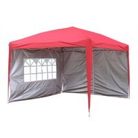Greenbay Garden Pop Up Gazebo Party Tent Canopy With 4 Sidewalls and Carrying Bag Red 3x3M
