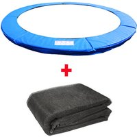 Greenbay Trampoline Replacement Spring Cover Padding Pad and Safety Net Enclosure Surround Bundle 12FT Blue