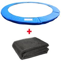 Trampoline Replacement Spring Cover Padding Pad and Safety Net Enclosure Surround Bundle 14FT Blue - Greenbay