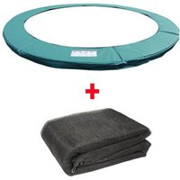 Trampoline Replacement Spring Cover Padding Pad and Safety Net Enclosure Surround Bundle 12FT Green - Greenbay