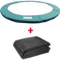 Greenbay Trampoline Replacement Spring Cover Padding Pad and Safety Net Enclosure Surround Bundle 14FT Green