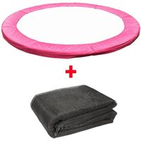 Trampoline Replacement Spring Cover Padding Pad and Safety Net Enclosure Surround Bundle 8FT Pink - Greenbay
