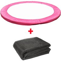Trampoline Replacement Spring Cover Padding Pad and Safety Net Enclosure Surround Bundle 13FT Pink - Greenbay
