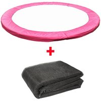 Greenbay Trampoline Replacement Spring Cover Padding Pad and Safety Net Enclosure Surround Bundle 14FT Pink