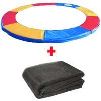 Greenbay Trampoline Replacement Spring Cover Padding Pad and Safety Net Enclosure Surround Bundle 10FT Tri-Colour for 6 poles Trampoline