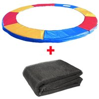 Greenbay Trampoline Replacement Spring Cover Padding Pad and Safety Net Enclosure Surround Bundle 14FT Tri-Colour