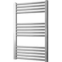 Greened House 500mm wide x 800mm high Chrome Flat Central Heating Towel Rail Designer Straight Towel radiator