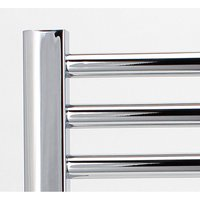 Greenedhouse - Greened House Electric Chrome 500W x 1800H Flat Towel Rail + Timer and Room Thermostat Bathroom Towel Rails