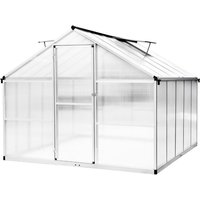 Greenhouse 302 * 250 * 195cm aluminum greenhouse with polycarbonate panel 8 m² garden shed - YOUTHUP