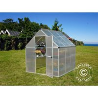 Dancover - Greenhouse polycarbonate 3.4 m², 1.85x1.86x2.08 m, Silver