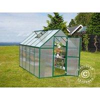 Greenhouse polycarbonate 5.7 m², 1.85x3.06x2.08 m, Green