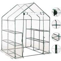 Greenhouse with 8 Shelves 143x143x195 cm - Transparent - ZQYRLAR