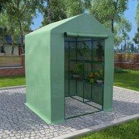 Greenhouse with Shelves Steel 143x143x195 cm - Green - ZQYRLAR