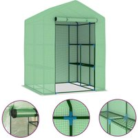 Greenhouse with Shelves Steel 143x143x195 cm - Green - Vidaxl