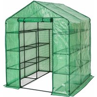 Greenhouse with tarpaulin and shelving - small greenhouse, walk in greenhouse, garden greenhouse - green - TECTAKE