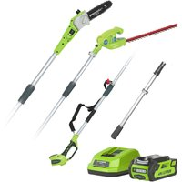 Greenworks G40PSH Cordless 40v Pole Saw and Long Reach Hedge Trimmer with Battery