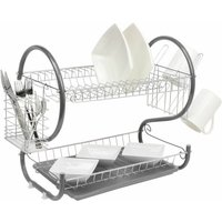 Grey 2 Tier Chrome Plate Dish Drainer
