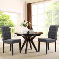 Grey Fabric Dining Chair Kitchen Chairs Dining Table Chairs - LIVINGANDHOME