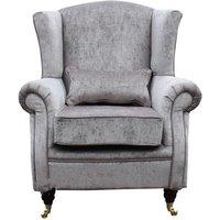 Designer Sofas 4 U - Grey Fabric Orthopedic High Back Wing Chair