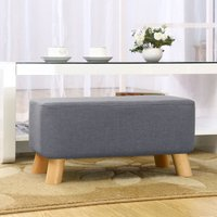 Livingandhome - Grey Fabric Ottoman Footstool Seat Pouffe Be
