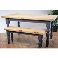 Grey Farmhouse Dining Set With 2 Benches 122 cm