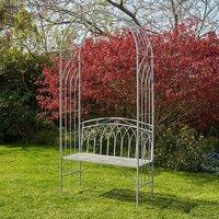 Grey Garden Bench Arbour Seat Outdoor Patio Archway Plant Climbing Trellis
